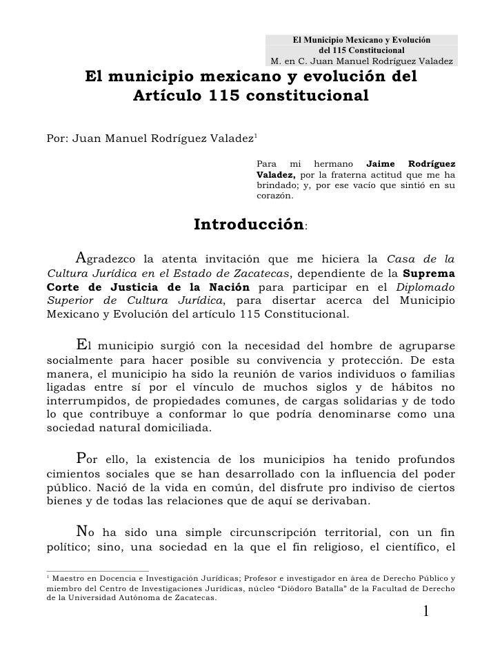 El Municipio Mexicano y Evolución                                                                del 115 Constitucional   ...