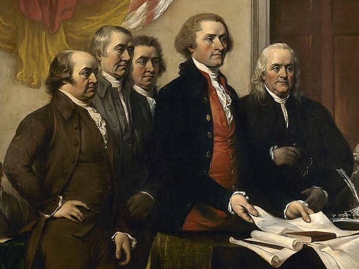 A Committee of Five, composed of John Adams, Thomas Jefferson, Benjamin Franklin, Roger Sherman, and Robert Livingston, drafted and presented to the Continental Congress what became known as America's Declaration of Independence of July 4, 1776.