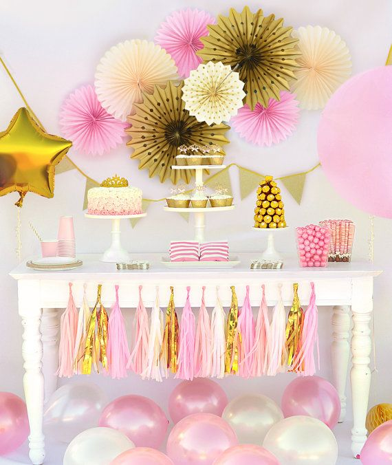 Princess Party In A Box, princess party package, princess birthday, pink and gold first birthday, pink and gold baby shower