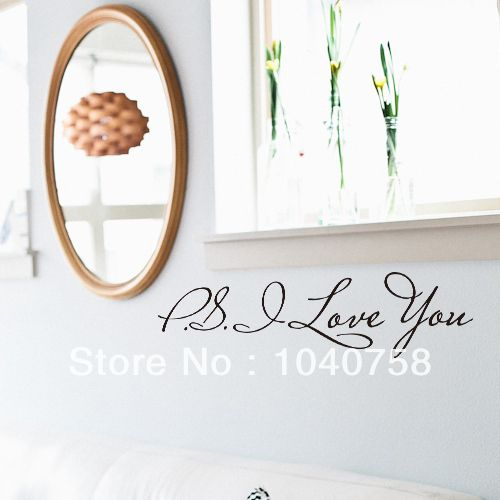 PS I Love You Vinyl Wall Quotes Stickers Sayings Home Decor Living Room Art 599