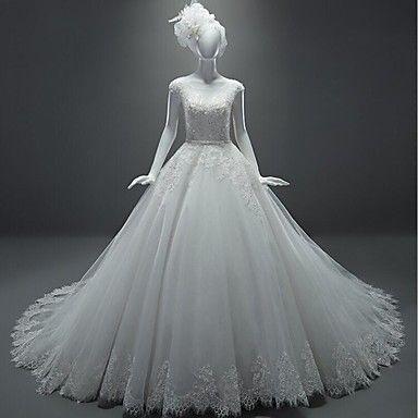 Balo Elbisesi Kuyruklu Şapel Geniş Yuvarlak Tül Gelinlik Beyaz 2016 - $142.49