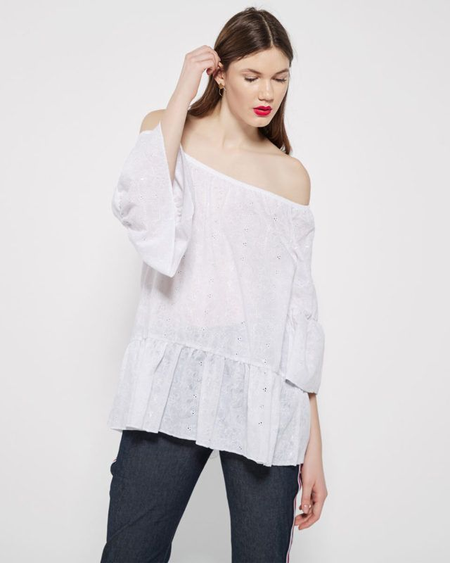 GUIPURE SHIRT WITH OPEN SHOULDERS