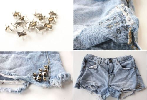 diy studs: Studded Shorts, Crafts Ideas, Style, Diy'S, Diy Fashion, Diy Clothes, Accessories, Denim Shorts