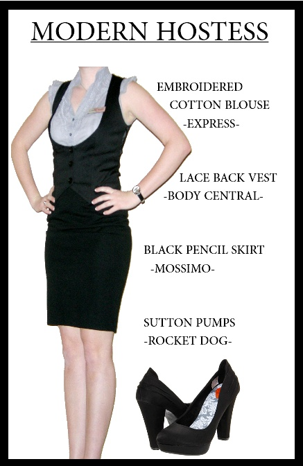 Many restaurants are seeking to modernize their standard uniforms. This modernized hostess uniform contains classic restaurant uniform elements (vest, collared shirt, black skirt) with more flattering and current cuts and fits.  Photo Credits: Karina Perry, Zappos.com