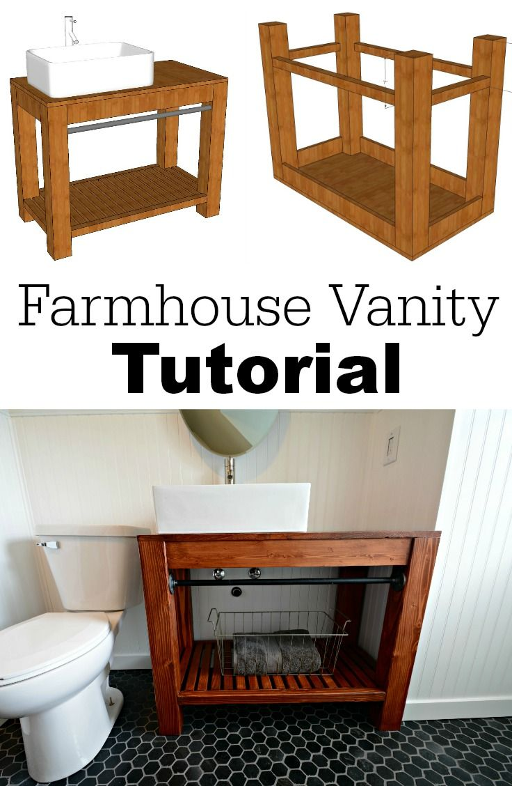 Learn how to build your own modern farmhouse bathroom vanity! Great diagrams to help you along! FREE PLANS!