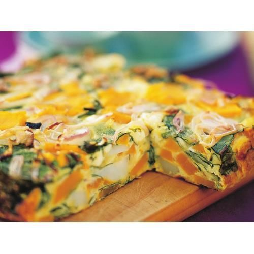 Pumpkin, spinach and fetta frittata recipe - By Australian Women's Weekly, This pumpkin, spinach and fetta frittata makes a great vegetarian meal when served with a side salad and crusty bread. Or, you could pack it up and take it on your next picnic.