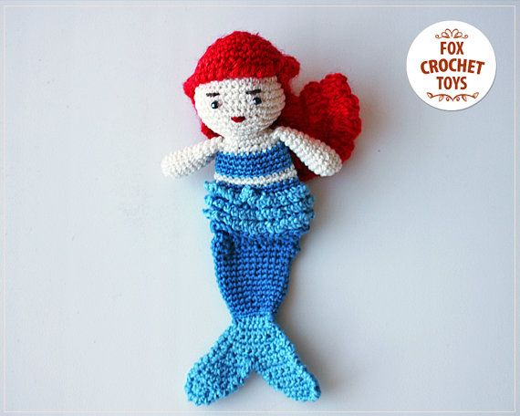 The little mermaid doll, cheerful resident bottom of the sea. Bright and attractive toy for children. It may also be an unusual gift for those #handmade #puppets #pillow #crochetdoll #DisneyPrincess #Mermaid #Ariel