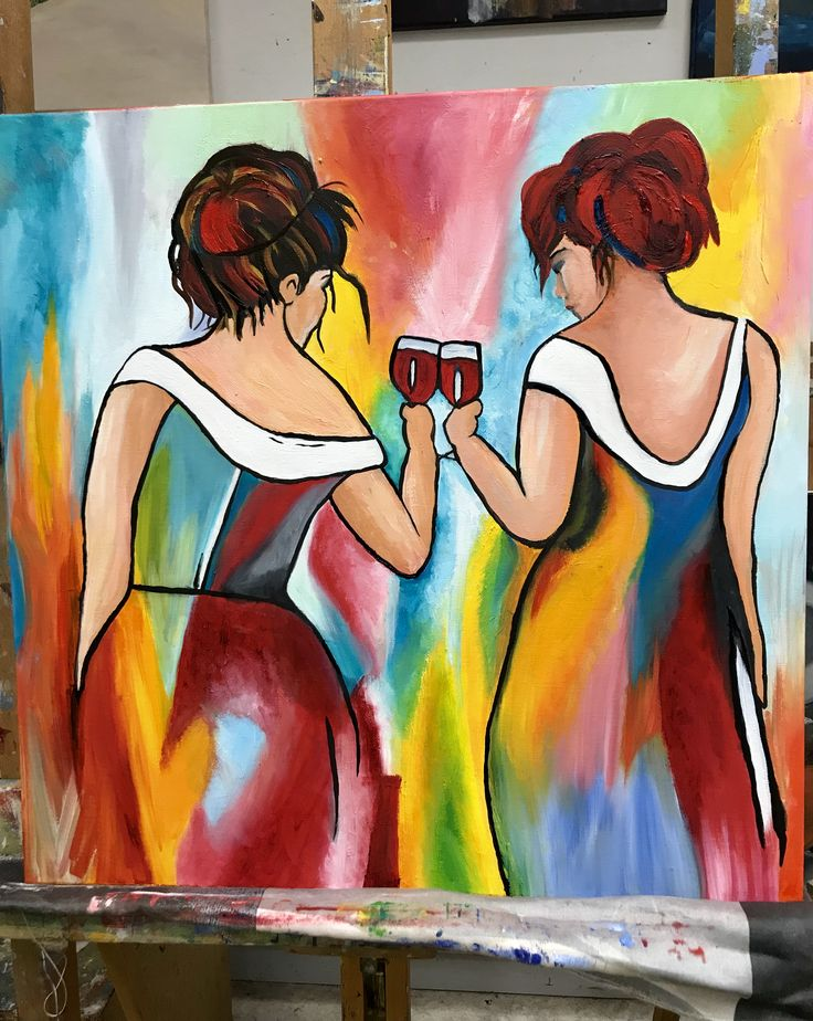 Dames geschilderd met olieverf. Ladys