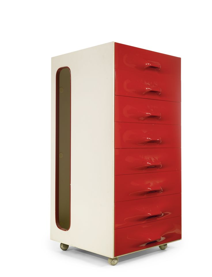 RAYMOND LOEWY VALET CABINET, MODEL NO. DF-2000 plastic, lacquered wood and mirrored glass 42 x 22 1/2 x 23 1/4 in. (106.7 x 57.2 x 59.1 cm) ...