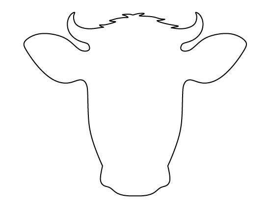 Cow face pattern. Use the printable outline for crafts, creating stencils, scrapbooking, and more. Free PDF template to download and print at http://patternuniverse.com/download/cow-face-pattern/