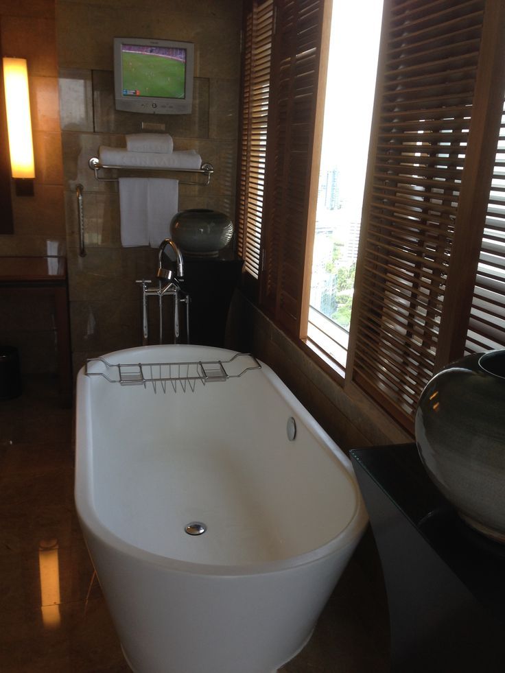 Nice bathtub in our suite at the Conrad Bangkok Hotel, Thailand