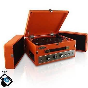 PyleHome Retro Vintage Classic Style Bluetooth Turntable Record Player, 110 V (pltt82btor), Orange