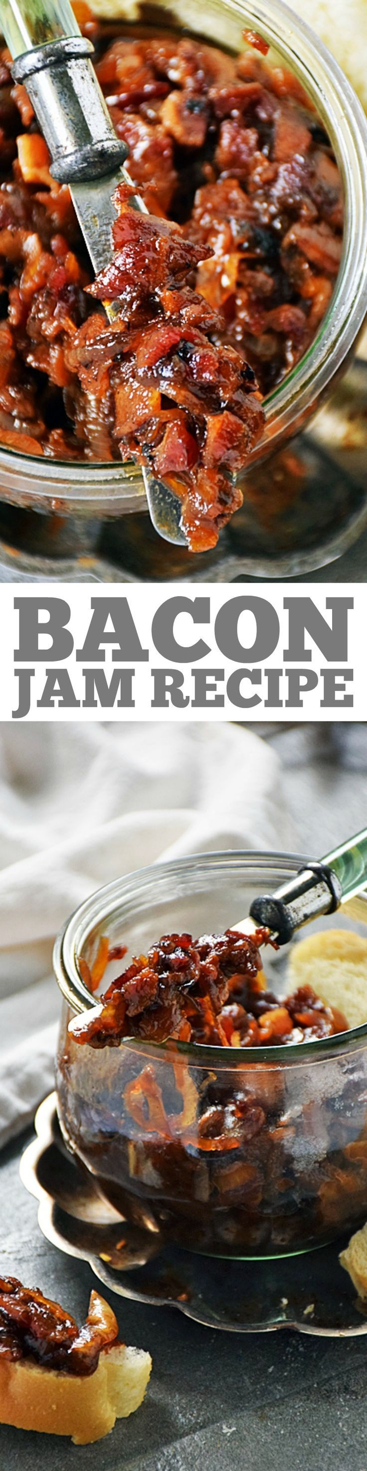 Bacon Jam is an easy recipe to make and great to have on hand. It is an amazing flavor enhancer for toast, sandwiches, burgers, and even in scrambled eggs. We love to top everything with this sweet, savory, and smoky spread! Great football appetizer! #LTGrecipes #SundaySupper