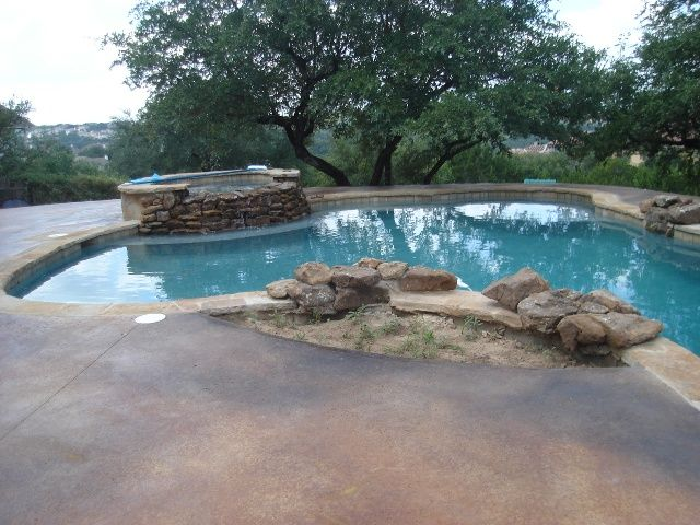 Swimming Pool Stains : Pool deck acid stain cola and black marbling