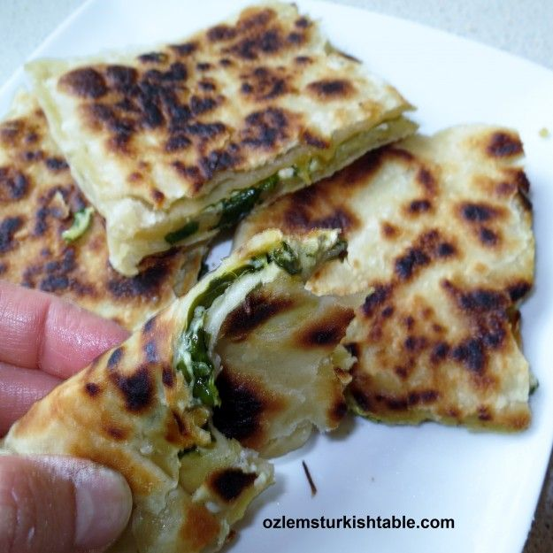 Ozlem Warren -  Ispanakli & Peynirli Gozleme - Anatolian Flat breads with cheese, onion and spinach, indeed easier than you think!