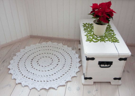 Round white doily rug 37'' / 93 cm  handmade rug by ForHomeAndSoul