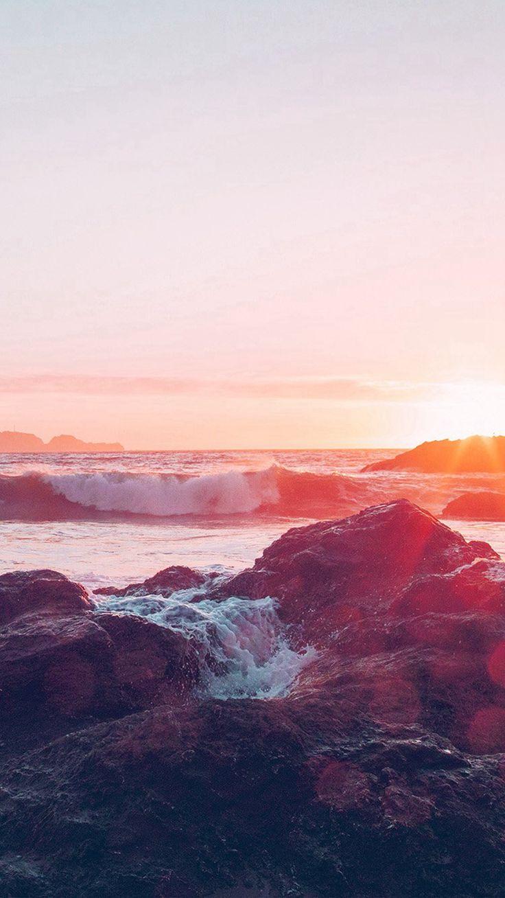 Sea Ocean Nature Sunset Rock Wave Blue Red #iPhone #7 #wallpaper