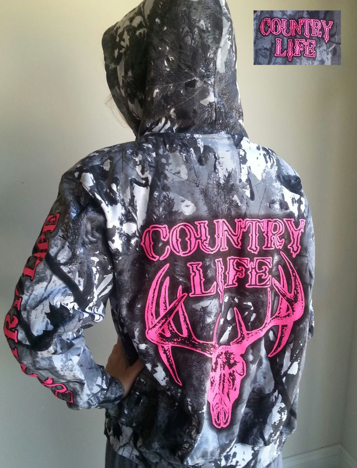 Country Life Outfitters Pink Bone Camouflage Camo Realtree Deer Skull Head Hunt Vintage Hoodie