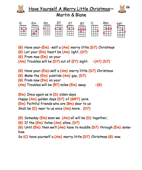 Have Yourself a Merry Little Christmas – Judy Garland ukulele chords