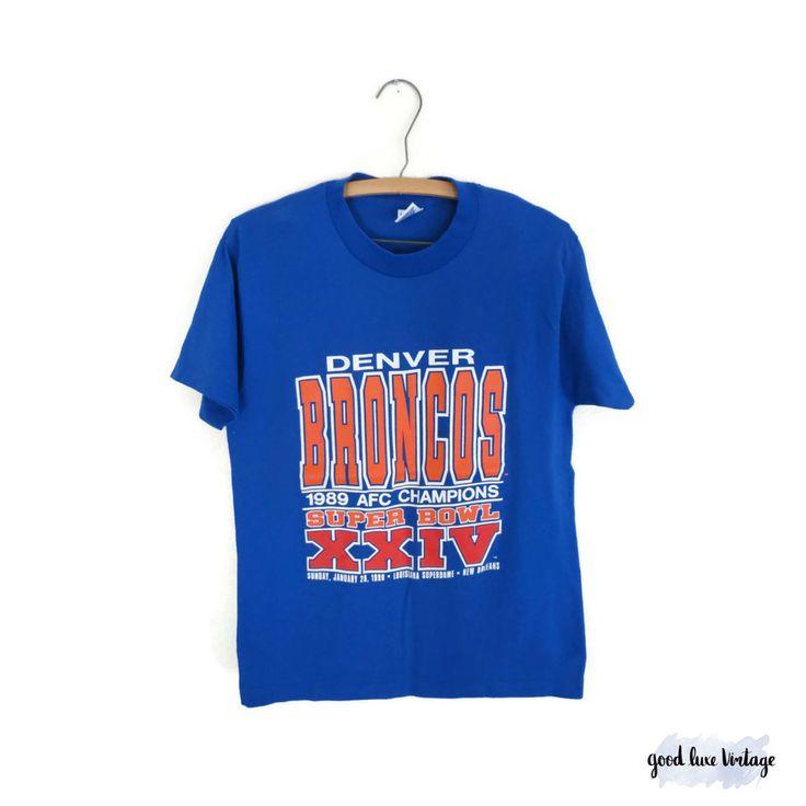 Denver Broncos Shirt Vintage Football T-shirt Tee 50/50 Soft Size M Medium Blue 1989 AFC Champions Super Bowl XXIV 1990 by GoodLuxeVintage on Etsy
