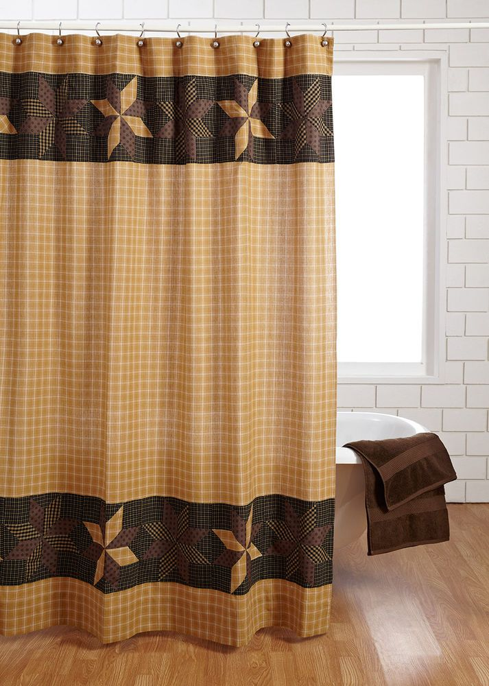 Amherst shower curtain primitive black gold brown tan star for Brown and gold bathroom sets