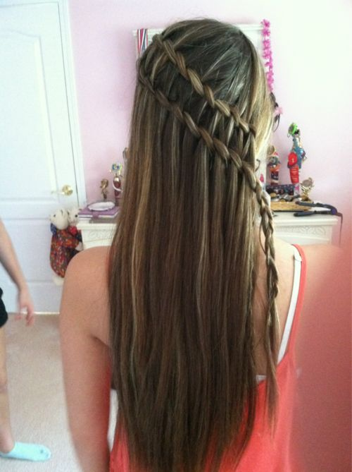 two waterfall braids: Of, Beautiful Hairstyles, Waterfalls, Stuff, Hairstyles No Bad, Cascading Waterfall Braids, Double Waterfall Braids, Hair Styles Braids, Beauty