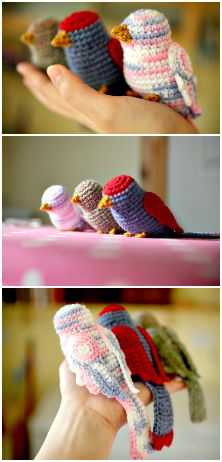 Free Crochet Three Colorful Birds Patterns - 27 Free Crochet Bird Patterns You'll Love - DIY & Crafts