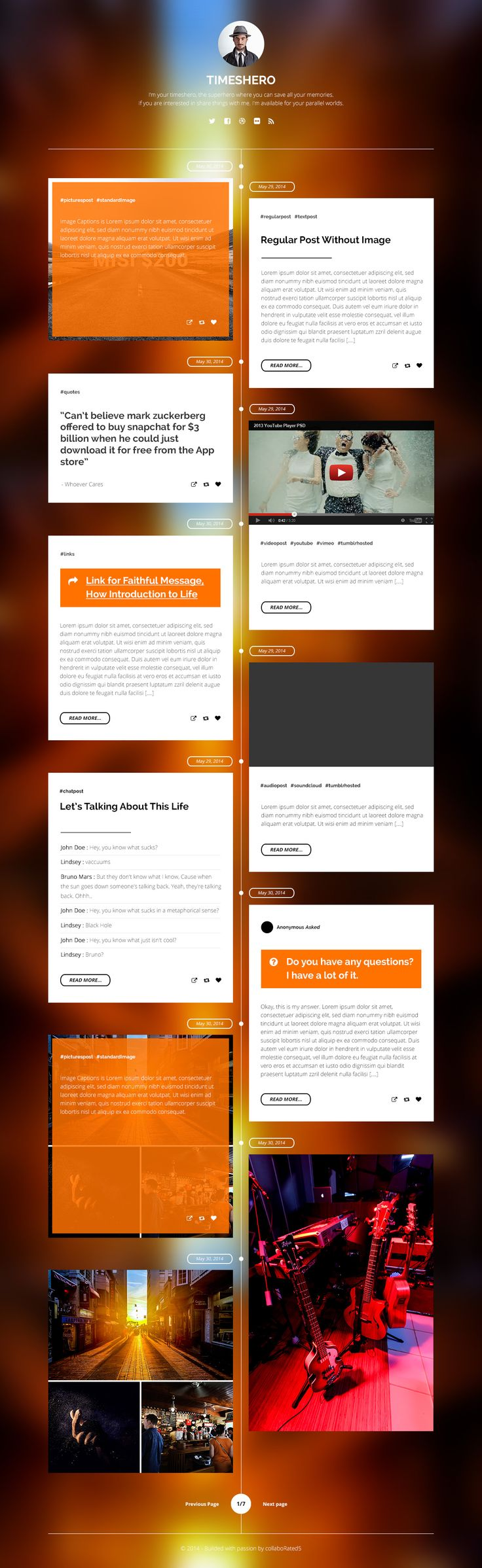 Timeshero is a Responsive Timeline Style Tumblr Theme. Perfect theme for blogger to share your moment from time to time or cool way to save your things from facebook, twitter, path or any other social media. Save your memories, use Timeshero :)  https://creativemarket.com/simpleshop/85064-Timeshero-Tumblr-Timeline-Theme