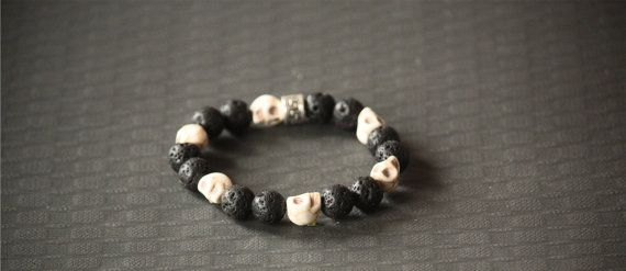 Beaded Fashion Bracelet Skull Lava Beads by BoogeJewellery on Etsy, $59.00