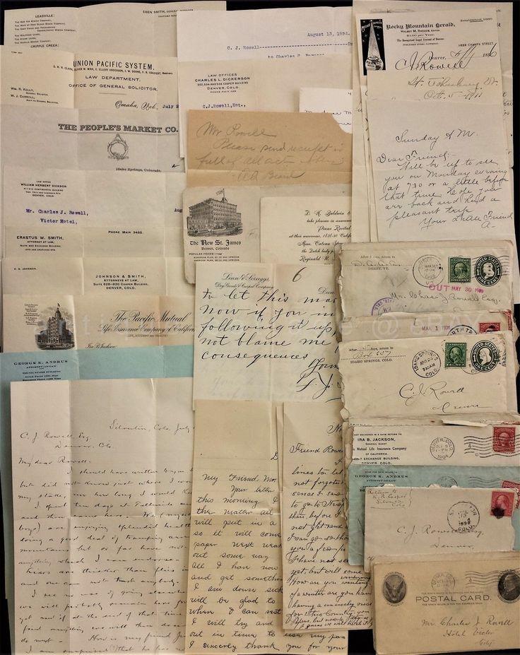 Lot 1896-1914 Antique 25pc C J Rowell Letters Denver Co Union Pacific Railroad