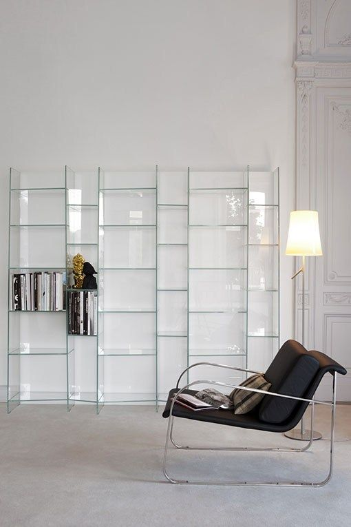 Freestanding modular #glass #bookcase DELPHI H. 190 by @sovetitalia