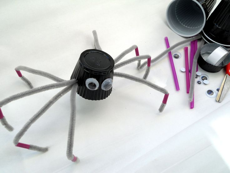 Spider - plastic cup, plastic mobile eyes, drinking straw, chenille stems