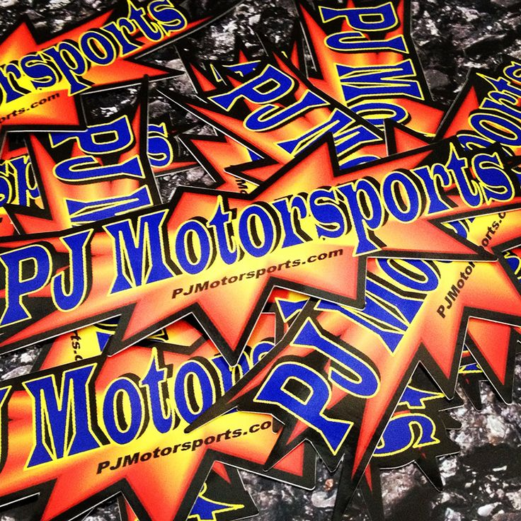 PJ Motorsports custom die cut stickers with a bleed border Bumper Stickers, Die cut stickers and decals printed on outdoor vinyl. Full Color, any shape, no set up fees! Order yours today at www.customstickermakers.com!