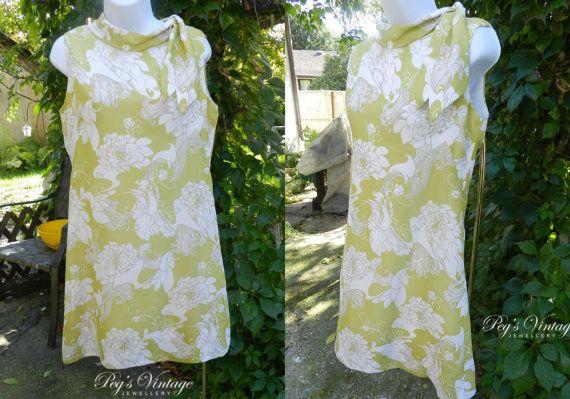 Vintage Dress Sleeveless Wiggle Dress/Terylene by PegsVintageShop