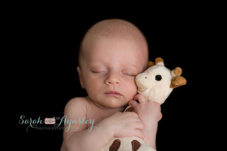 newborn baby boy with stuffed giraffe