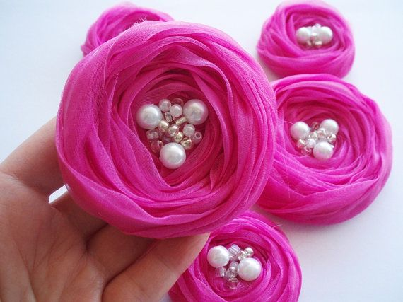 Hot Pink Chiffon Roses Handmade Appliques by BizimSupplies on Etsy