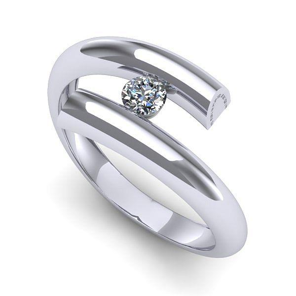 Inelul este realizat din aur alb 14k, greutate: ~2.60gr. Produsul are in componenta sa: 1 x diamant, dimensiune: ~3.00mm, greutate: 0.10ct , culoare: G, claritate: VS2, forma: round