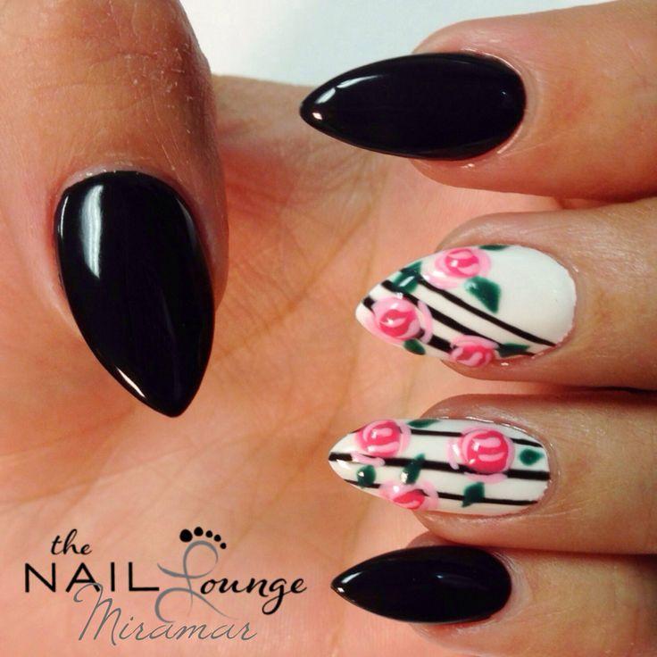 Black rose gel nails