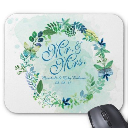 Mr. & Mrs. Floral Watercolor Wedding | Mousepad - anniversary gifts ideas diy celebration cyo unique