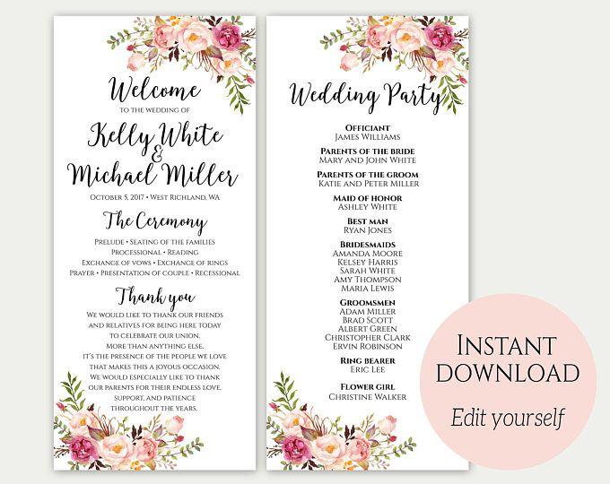 free wedding ceremony program template