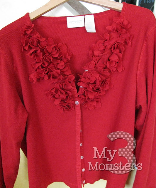 """""""Floating petals"""" sweater upcycle, would work on a sweater or T-shirt. Gorgeous. I have a Sizzix flower die cut that I will try on a T-shirt version"""