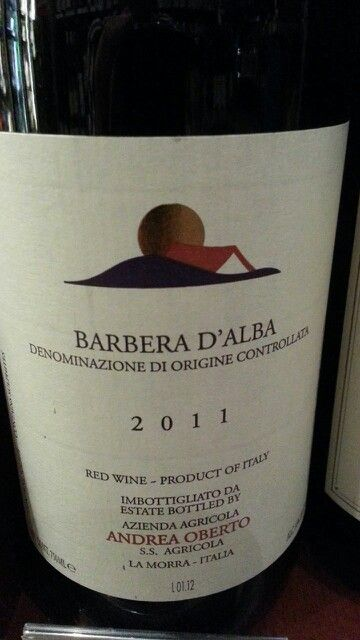 Andrea Orberto Barbera D'alba 2011 sintense ruby-redturning to lightpurplehue,due to theageing inbarriques. Thenose showsoakynoteswell-integrated with hints of plum and cherry in alcohol. Warm sensations in mouth thanksto itshighalcohol content,withrichtoastynotes ofripe fruit and jam. Sourand long finishdue to itstypical varietalacidity