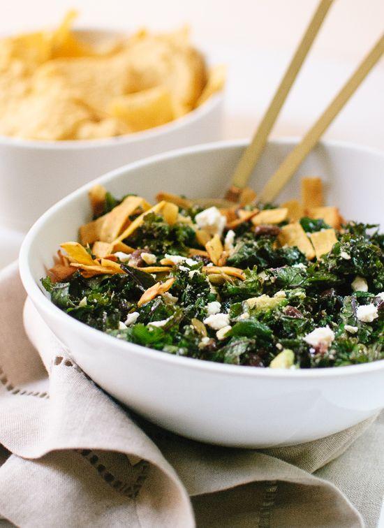 Feta Fiesta Kale Salad with Avocado and Crispy Tortilla Strips | Reci ...