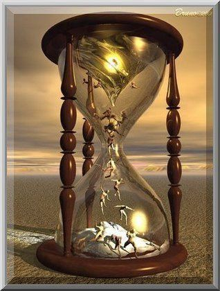 """Tempus Fugit"" (time flies or flees) is represented by an hourglass with wings or with a human skeleton having an hourglass in his hands. The Latin phrase usually appears along with another: ""Carpe Diem"" (seize the day)"