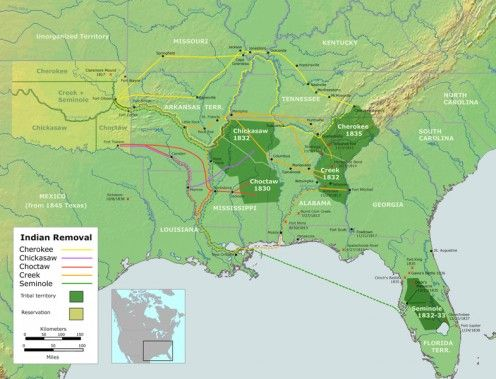 The Seminole Nation was only partially removed, but split into two groups - one Tribe and one Nation with equal status.