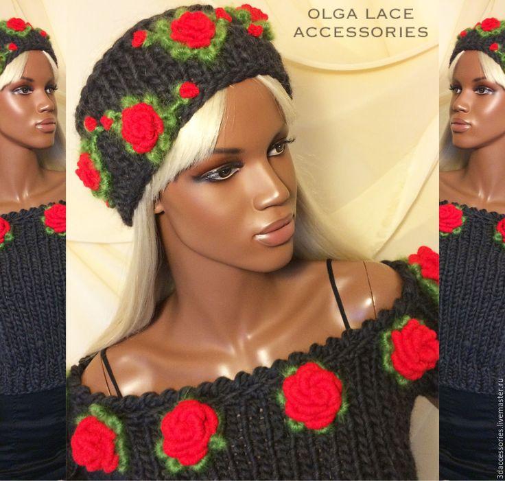 Купить или заказать Повязка на голову с розами рококо от Olga Lace в интернет-магазине на Ярмарке Мастеров. Повязка на голову от Olga Lace. Повязка связана спицами из 100% шерсти. Декорирована красными розами с листочками в технике рококо. Основной цвет - серый.