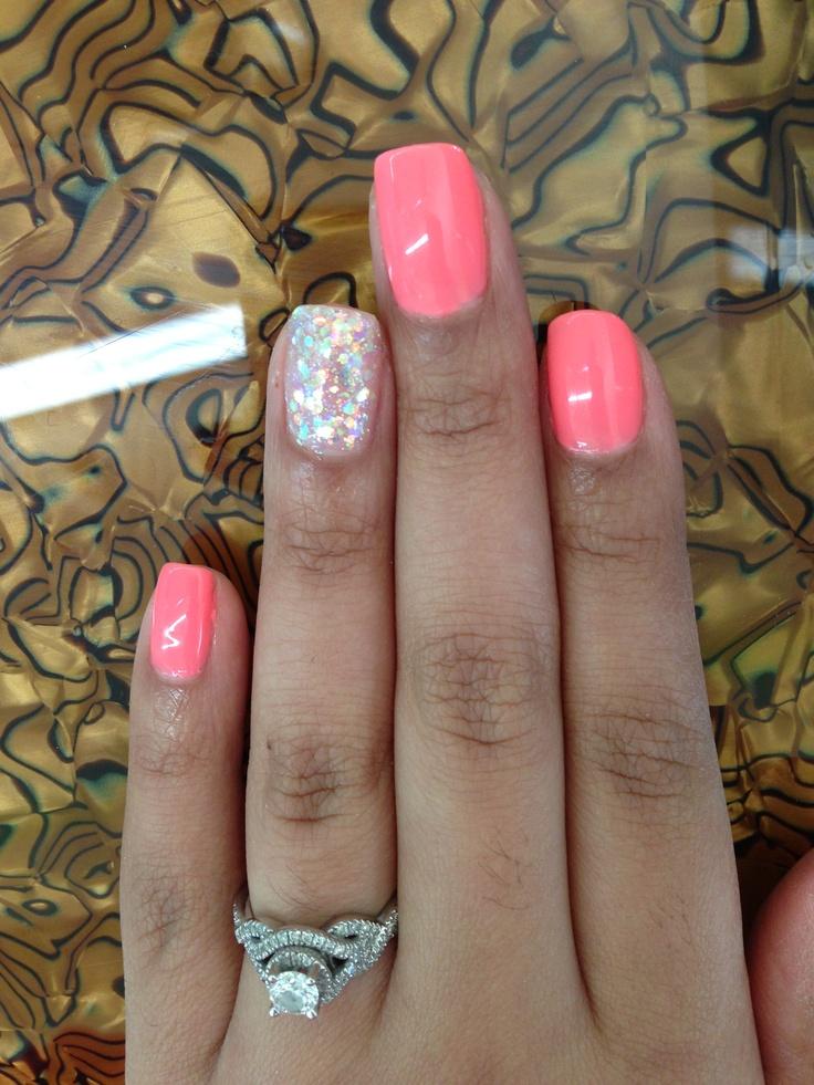 Glitter Pink Gel Shellac Summer Cute Nails Pinterest
