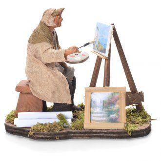 Pittore con cavalletto 12 cm presepe napoletano   vendita online su HOLYART