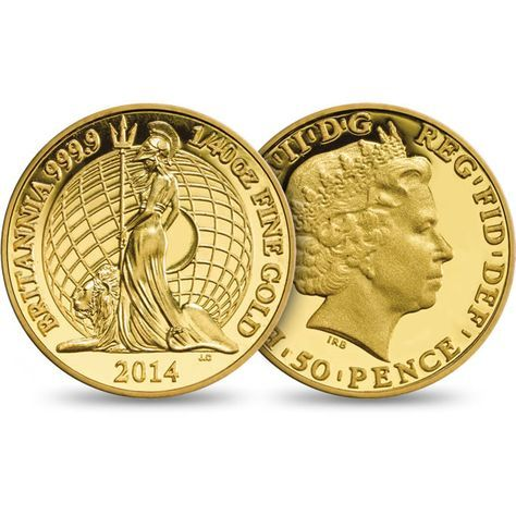 The Britannia 2014 Fortieth Ounce Gold Proof Coin. £50.00. Struck in 999.9 fine gold. Just 9,750 coins finished to gleaming Proof standard. With an inspiring booklet on the history of Britannia. http://www.royalmint.com/shop/b/br14g40