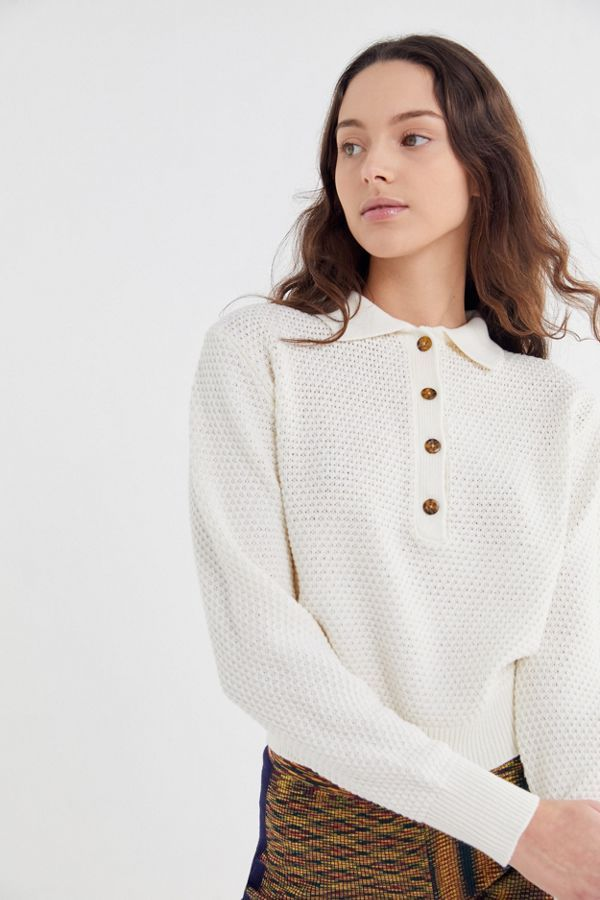 8b1bc713a UO Ricky Waffle Knit Long Sleeve Polo Shirt in 2019 | Wish List | Pinterest